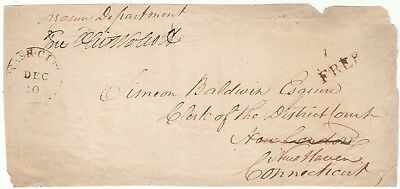 1800 Wash. Dc Stampless Front  Free Frank  Oliver Wolcott Secretary Of Treasury