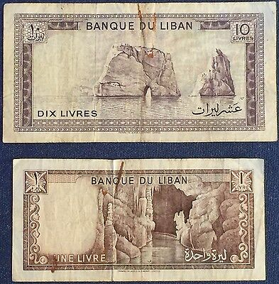 Lebanon 1 and 10 Livres 1968 great circulated condition (aVF or better)!