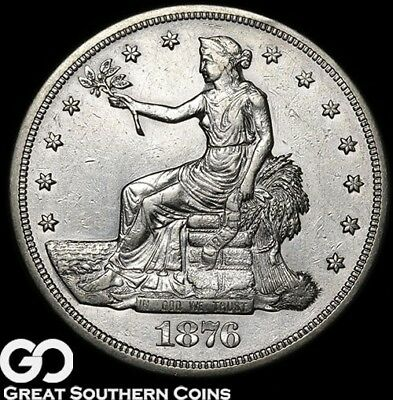 1876-S Trade Dollar, Well Sought After Choice AU++ Silver Dollar!