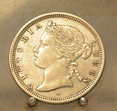 1879 H Straits Settlements Silver 20 Cents, Old World Silver Coin, Better Date