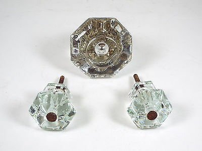 VTG Lot 3 - 1 Clear Glass Brass Door Knob & Set of 2 Cabinet Drawer Pull Handle