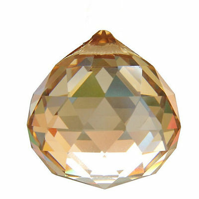 30mm Champagne Crystal Ball Prisms Chandelier Drop Hanging Pendant Suncatcher