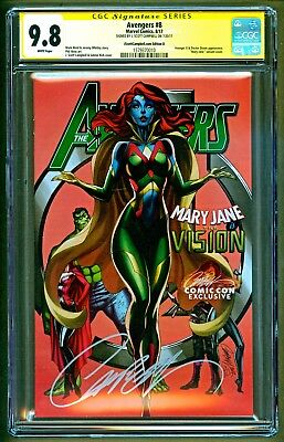Avengers #8 Cover D Vision Mary Jane Variant Signed J Scott Campbell SS CGC 9.8