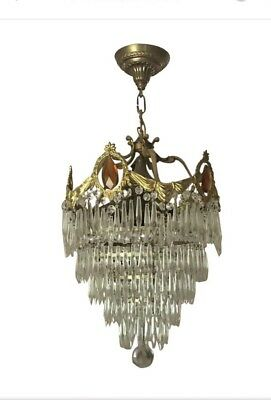 Antique Art Deco Crystal Prism Wedding  Cake Tier Chandelier