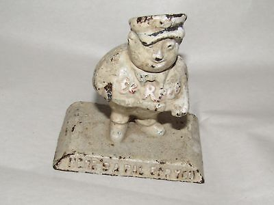 Vintage Cast Iron Paperweight ~ El Reco Gas & Oil ~ Here's A Pal For You