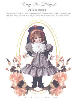 "Ruffled Dress Mutton Sleeves Antique Design Doll Pattern 24""-25"" BHD 30"""