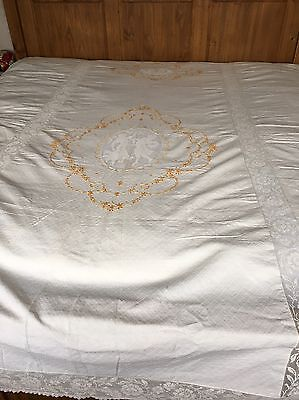 Victorian Embroidered Lace Wedding Bedspread Tapestry Coverlet Cherubs & Lovers