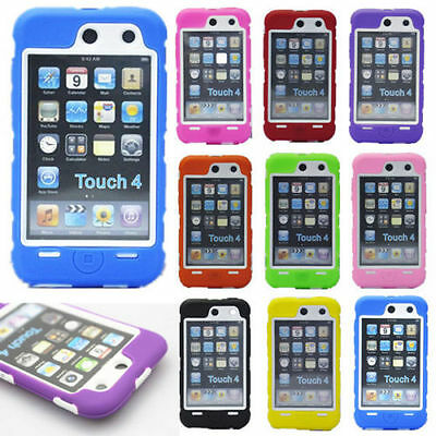 Hot New Heavy Hybrid Silicone Hard Skin Case Cover For iPod Touch 4th Gen WB