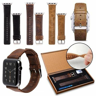 Luxury Genuine Leather Wrist Band Strap For Apple Watch iWatch 1/2/3 38mm 42mm