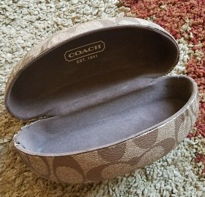 COACH brown on brown logo C cresent sunglass hard shell clam case, no cloth