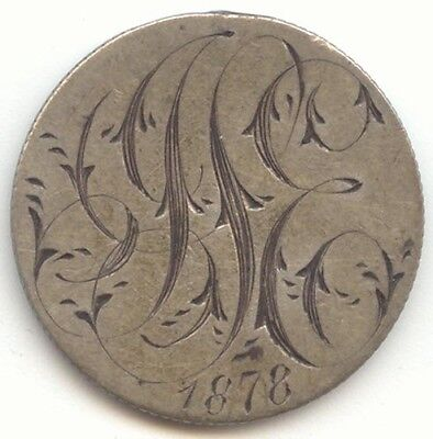1876 Seated Liberty Dime Love Token, Initials JSE, J S E, 1878