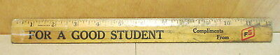 """FS Farm Services For a Good Student 12"""" Wood Rule 1 Foot Ruler Vintage"""