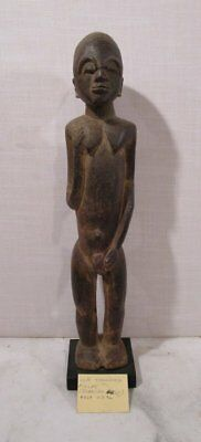 Antique African Tribal Art Lobi Burkina Faso Carved Wood Male Standing Figure