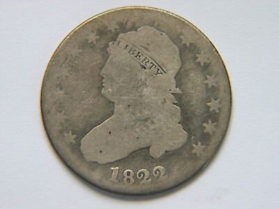 1822 25C Capped Bust Quarter Rare Key  Date Early Large Diameter Coin