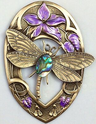"""GENUINE ABALONE ON DRAGONFLY WITH FLOWERS~Antique & Vintage BRASS Button~ 2 1/2"""""""