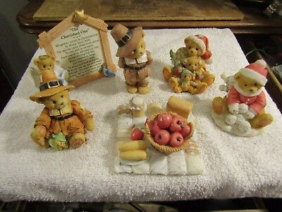 Vintage Cherished Teddies Lot of Christmas Thanksgiving Figures 6 Different