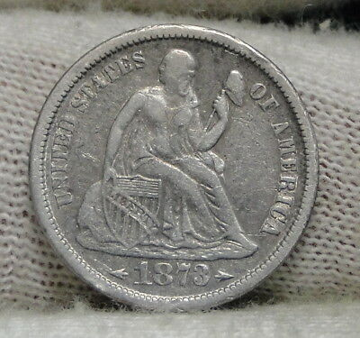 1873s  Seated Liberty Dime 10 Cents - Key Date, Nice Coin, Free Shipping (6553)