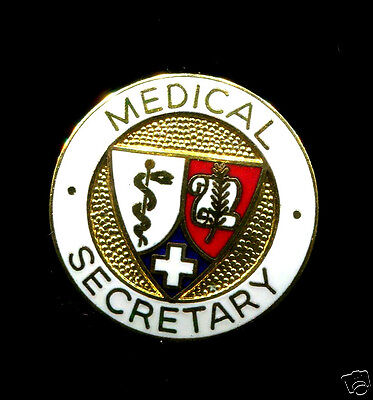 Medical Secretary Pin 1974 Uniform Accessories Pin Red White Red Blue Gold Pin