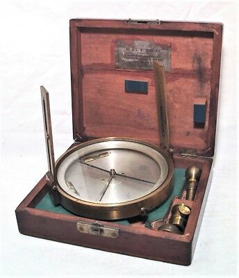 Superb Antique W&le Gurley Brass Surveying Pole Compass W/ Mount In Original Box