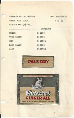 1948 White Rock Ginger Ale Label With Neck - New York, NY - File Copy