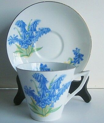Bluebell English Bone China Cup & Saucer Art Deco Shape Made in England