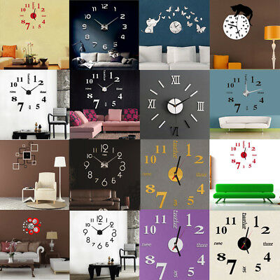 Acrylic Modern DIY Wall Clock 3D Mirror Surface Paper Home Room Office Decor New