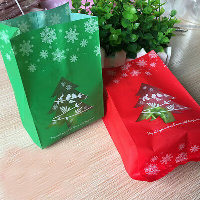 50PCS New Christmas Cello Cellophane Biscuit Sweet Favour Party Gift Bags Boxes