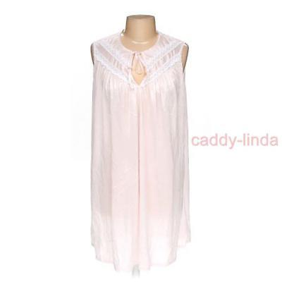 """Vintage Deena L Pink Nylon Nightgown 44"""" Bust 38"""" Long Length Lace Tie Bodice"""