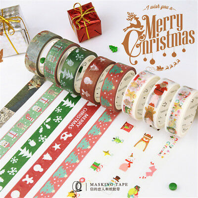Christmas XMAS DIY Paper Sticky Adhesive Sticker Decorative Washi Tape 1.5cm*7m