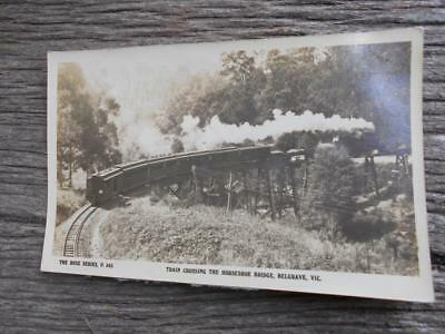 C 1930 locomotive train crossing Horseshoe bridge Belgrave Rose series postcard