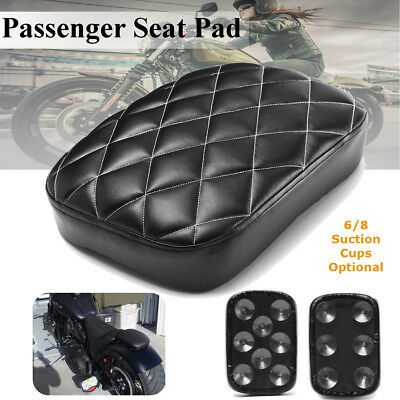 Rear Passenger Vintage Pillion Seat Pad 6/8 Suction Cups For Harley Softail Dyna