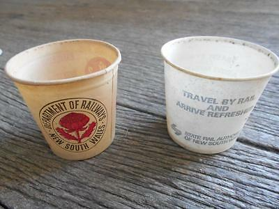Vintage NSWGR State Rail NSW paper wax cups water cup x 2 transportation train