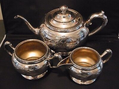 ANTIQUE Engraved Silver Plated Engraved 3 Piece Tea Set by FORBES CANADA c 1900