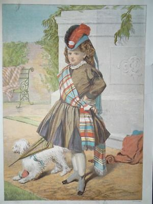 On Guard Tracht Mode Hund Costume Uniform Leighton Farblithographie 1873