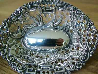 Unusual Chinese Figural Scene Hm1902 Solid Silver Bon Bon Dish Antique Nr