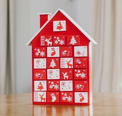 Scandi Red and White House Advent Calendar Wooden Christmas Xmas 24 Days