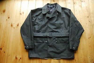 Vintage Belstaff Black Prince Rubberised Motorcycle Jacket Coat Mac Large