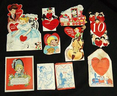 Lot Of 9 Vintage Valentines Day Childrens Paper  Holiday Cards