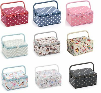 Sewing Box Medium by HobbyGift - Fabric Sewing Basket, Handle & Removable Tray