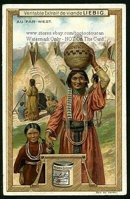 Native American Indian Mother and Daughter In Village1907 Trade Ad Card