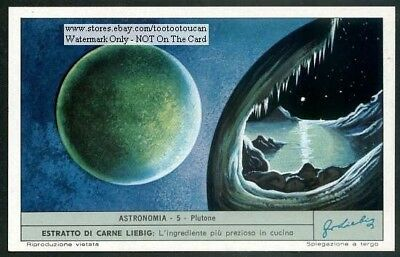 The Planet Pluto Plutone c40 Y/O Astronomy Trade Ad Card