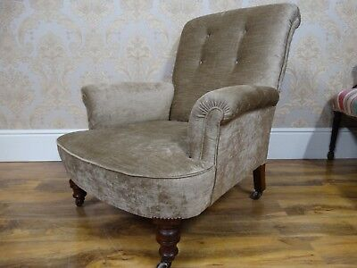 SUPERB!! Antique Victorian Howard type Roll arm library reading armchair