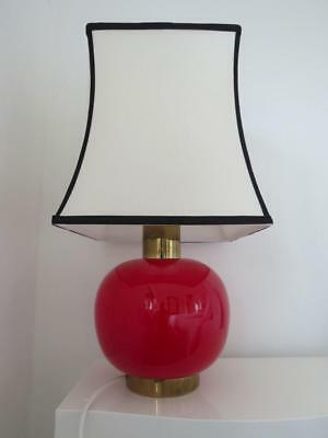 Vintage Modernist Table Lamp Mid Century Red Glass Double Lead Light