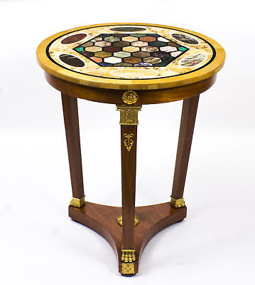 Antique French Empire Style Pietra Dura  Bouillotte Occasional Table C1900