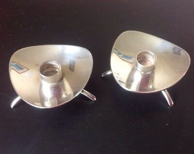 """Pair Of Cohr Denmark Atla slim Candle holders. Silver plate. Perfect. 2"""""""