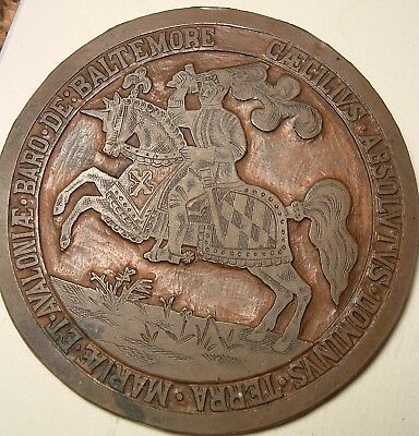 ANTIQUE Copper Seal of 1648 Lord Baltimore maryland John Ryan & Co Type Founders