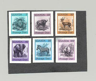 Uganda #J13-J18 Postage Dues 6v Imperf Proofs Mounted in Heavy Paper