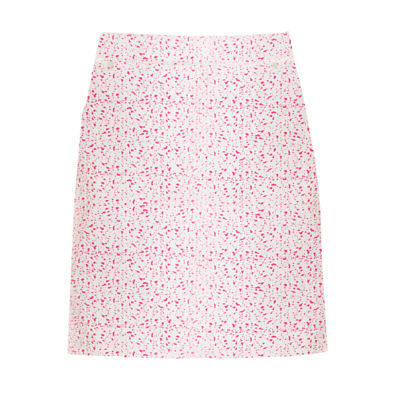 Green Lamb A-Line Pleated Skort with Flattering Finish in White/Fuchsia