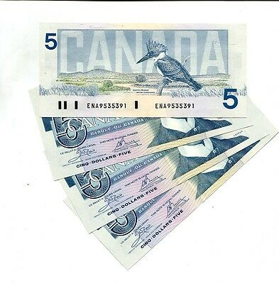 Canada 1986 $5 4 Consecutively Numbered Notes Cu 4806G
