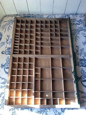 Vintage French Printers Tray Rustic Letterpress Type Case Drawer Display (927)